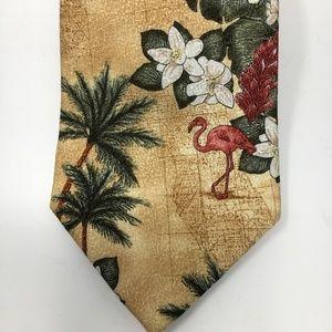 Tango silk tie tropical flamingo tan and green